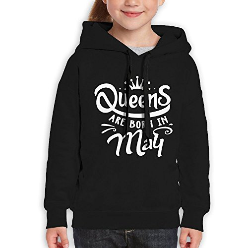 Price comparison product image Vintopia Boys Queens Are Born In May Leisure Walk Black Hoodie L