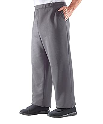 Silverts Disabled Elderly Needs Mens Side Opening Arthritic Fleece Pants with Adjustable Closures - Grey Med