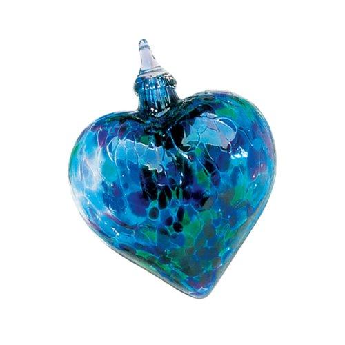 Glass Eye Studio Hand Blown Glass Heart Ornament - Blue Mosaic -