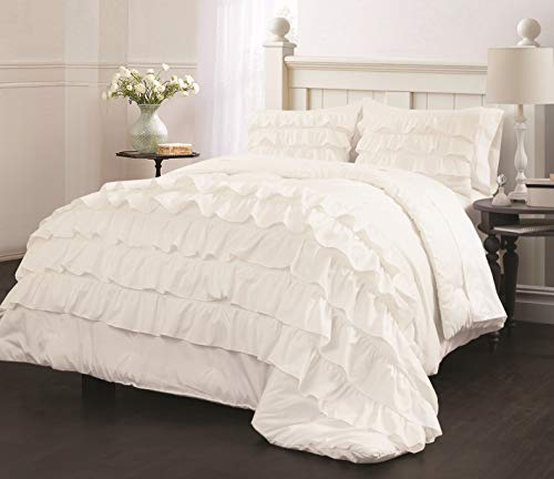 Latitude Ruby Ruffle Comforter Set, Twin, White