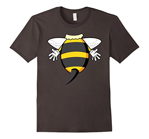Man In Bee Costume (Mens Funny Honeybee Costume Shirt - Hilarious Bee Halloween Gift Large Asphalt)