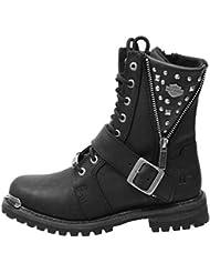 Harley-Davidson Womens Mindy Black Leather Mid Cut Boot