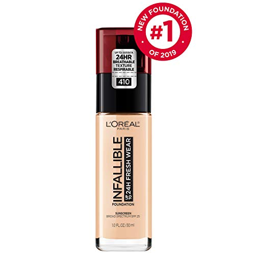L'Oréal Paris Makeup Infallible up to 24HR Fresh Wear Liquid Longwear Foundation, Lightweight, Breathable, Natural Matte Finish, Medium-Full Coverage, Sweat & Transfer Resistant, Ivory, 1 fl. oz.