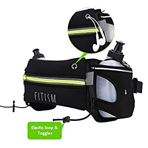 FITISM Hydration Running Belt with Two BPA Free Ten Oz Water Bottles for Running, Race, Marathon, Hiking, Workout, Adjustable Waist Pack with Phone Pocket, Fits iphone 7 plus