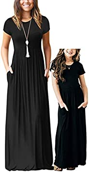 Qin.Orianna Mommy and Me Short Sleeve Loose Plain Family Matching Maxi Dresses with Pockets for Mother's