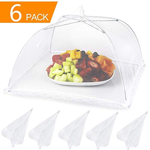 """Lauon Food Cover Mesh Food Tent, 17""""x17"""", 6 Pack, White Nylon Covers, Pop-Up Umbrella Screen Tents, Patio Bug Net for Outdoor Camping, Picnics, Parties, BBQ, Collapsible and Reusable"""