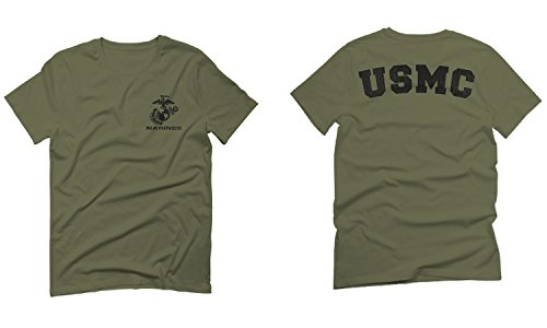 Black Seal United States of America USA American Marines Corps USMC for Men T Shirt (Olive Green, Small)