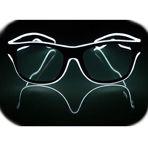 Glow Eye Glasses masks LED Light Up Glasses El Wire Glowing Party Rave Glasses For Halloween Luminous Night Costume Parties (White)