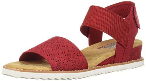 Skechers BOBS Women's Desert Kiss-Stretch Quarter Strap Sandal Flat, red 8 M ()