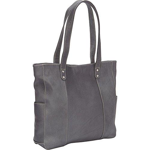 le-donne-leather-double-strap-rivet-tote-gray