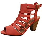 City Classified Awesome Gladiator Strappy Chunky Block Heel,7 B(M) US,Salmon Nubuck