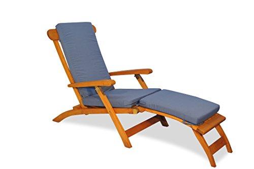 Teak Steamer Chair with Cushion (Canvas Saphire Blue) (Chair Lounge Cushions Steamer Teak)