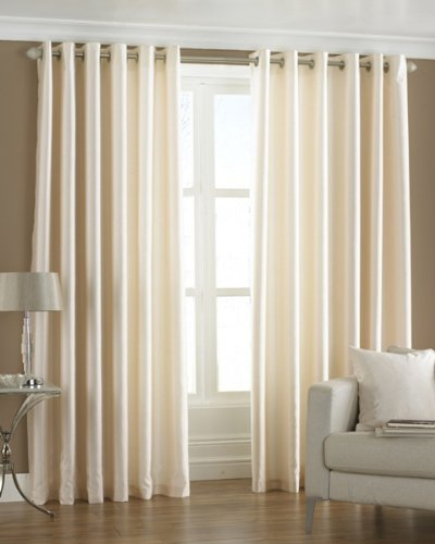 PINDIA 2 Piece Combo Faux Silk Eyelet Polyester Plain Ringtop Door Window Curtain (7 ft, Off-White)