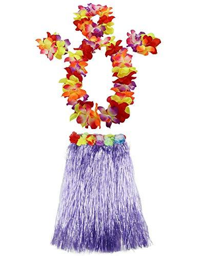 (AniiKiss 1 Set 60cm Adult Hula Grass Skirt Hawaiian Party Costume Luau Dance Skirts (Purple))