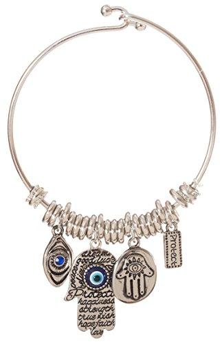 Artisan Owl Hamsa Hand Evil Eye Dangling Charm Protection Bracelet (Silver Tone)
