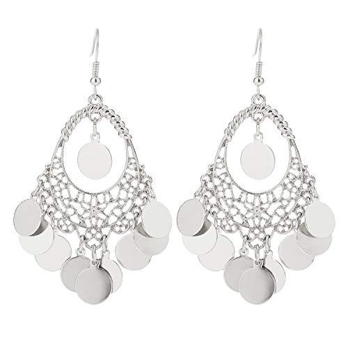 (BaubleStar Silver Disc Earrings Chandelier Coin Dangle Tassel Earrings Vintage Bohemian Drop Fashion Jewelry for Women Girls B077S )