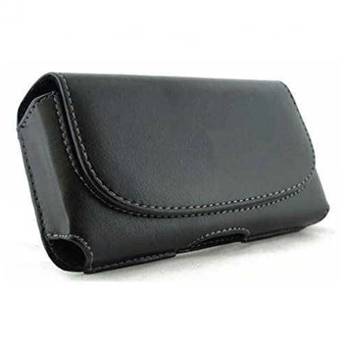 (Black Horizontal Leather Case Cover Pouch Holster Belt Clip w Loops for AT&T HTC Tilt - AT&T Palm Treo 680 - AT&T Samsung Impression A877)