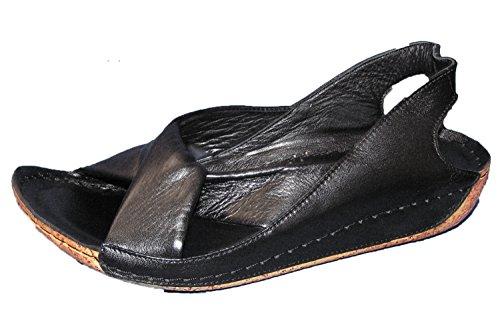 Gemini Damen Sandale Leder Schwarz 32010