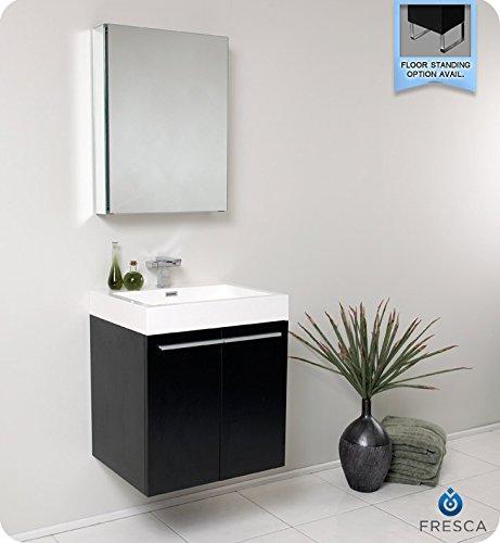 36' Black Vanity - Fresca Bath FVN8058BW Alto Vanity with Medicine Cabinet, Black