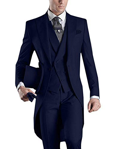 YBang Men's Classice 3 Pieces Tux Suit One Button Regular Fit Long Tail Tuxedos(Navy,36S) ()