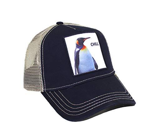 Kenny K. Men's Funny Trucker Hat Animal Farm Patch Baseball Cap, Chill Penguin Navy