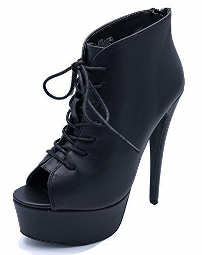 Damen schwarz Reißverschluss Plateau Peep-Toe zum Schnüren Knöchel High-Heels Stiefel Schuhe UK 3-9