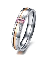 Titanium Stainless Steel Anti-Allergy Double Colors Plated Wedding Band Flat Littering Carved Couple Ring