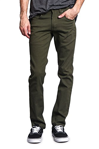 Victorious Men's Skinny Fit Color Stretch Jeans DL937 - Olive - 34/30