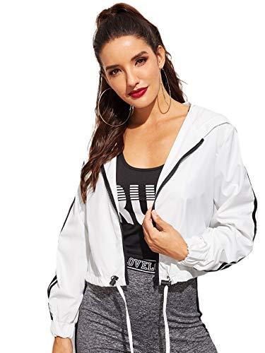 Romwe Women's Casual Long Sleeve Zip Up Lightweight Outwear Bomber Hooded Jacket