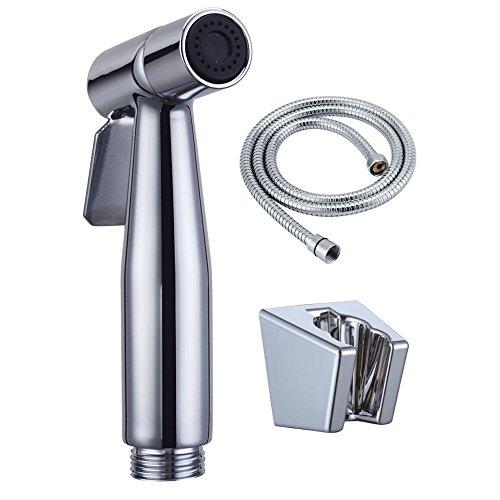 ShinMor Bidet Sprayer Handheld Cloth Diaper Sprayer Stainless Steel Shattaf Set for Personal Hygiene (Bright Silver)