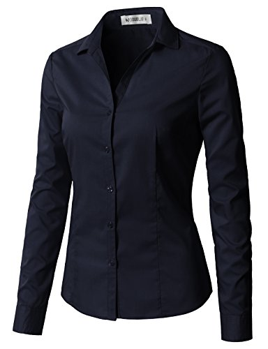 CLOVERY Women's Cotton Basic Button Down Shirt Long Sleeve Pleated Blouse Navy ()