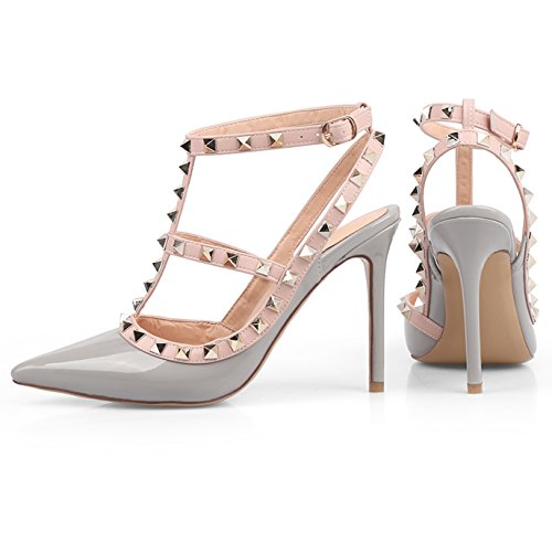 Stilettos Leather Chris Strappy 14 Gold US Sandals High Pumps T Stud Heels Studded Women Pointed Grey Slingback 4 Toe np0nrzv1