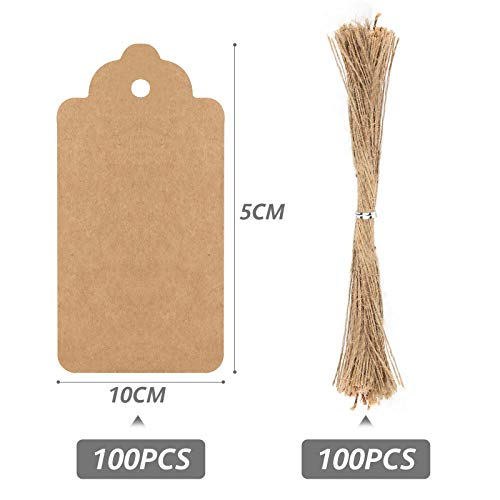 HAKACC Paper Gift Tags, 200 PCS Brown Gift Tags with String for DIY Arts and Crafts Christmas DIY Kraft Gift Tags