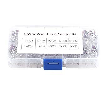 3.3V 1W Zener Diode Assorted Kit Set 200 Pcs 10 Values Voltage Regulator Diodes 7.5V 1N4728 1N4729 1N4730 1N4731 1N4732 1N4733 1N4734 1N4735 1N4736 1N4737