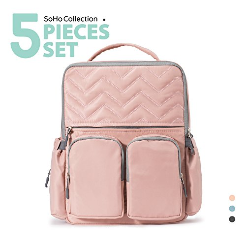 Diaper Bag Backpack for Mom or Dad with Stroller Straps, Cha