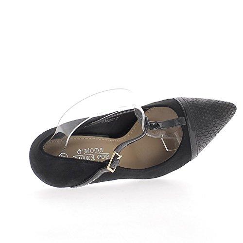 Scarpe donna tacco bi materiale tagliente nero 10,5 cm