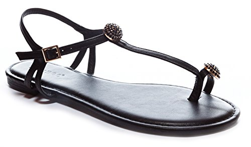 Bamboo Women's Jeweled Toe-Ring T-Strap Flat Sandal in Black Size: 6
