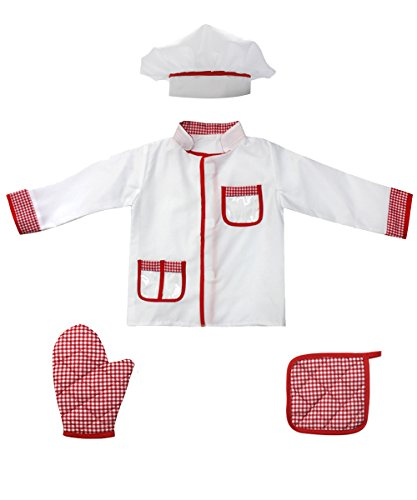 4Pcs Kids Chef Role Play Costume Set fedio Chef Dress up Set for Children(Ages 2-4) (Red gingham) - Little Girl Chef Costume