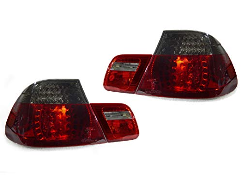 DEPO 4 Pieces Red/Smoke LED Tail Lights NO ERROR Compatible Fits For 2000-2003 BMW E46 323Ci 328Ci 325Ci 330Ci M3 2DR Coupe ONLY [NO 4DR or Convertible] -
