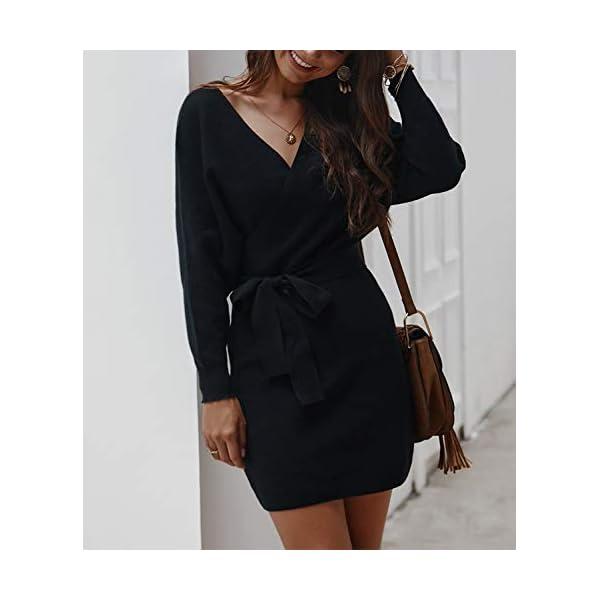 Backless Mock Wrap Knit Sweater Mini Dress