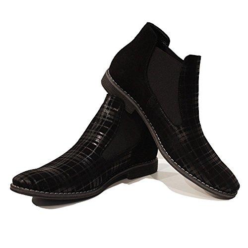 Modello Blako - Handmade Italiennes Black Bottes Chelsea - Cuir de vachette Suède - Glisser sur