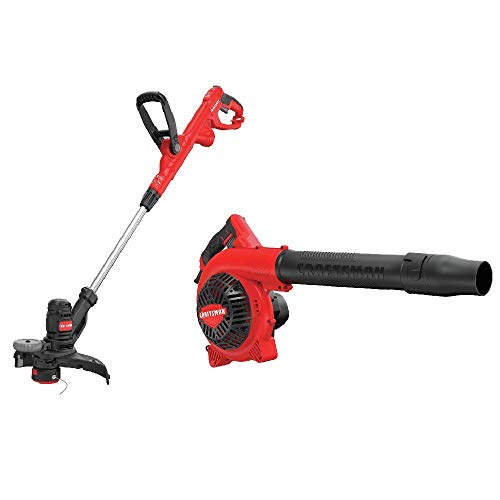 CRAFTSMAN CMEBL712 AC Jobsite Blower with CMESTE920 6.5Amp Electric String Trimmer w Push Button Feed System