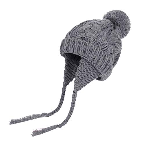 Rucan Toddler Baby Girls Boys Knitting Pompon Headgear Warm Ear Guard Kids Hat Cap (E)