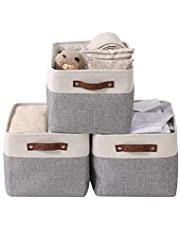 DECOMOMO Foldable Storage Bin   Rugged Canvas Fabric Cube Container with Handles   Great for Organizing Closets, Offices and Homes (Grey/White, Large - 38x28x24cm)