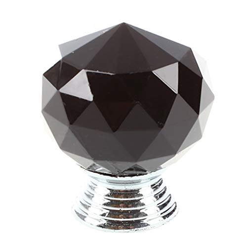Black Round Crystal Glass Cabinet Drawer Door Pull Knobs Handles 30mm S5T5