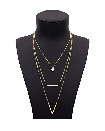 Shoopic Layered Rhinestone Pendant Diamond Bar Lariat V Bar Drop Chain Necklace for Women