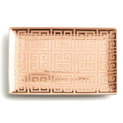 Rosanna 96533 Tray Greek Key Pink & Gold Setter Dish, Multicolor