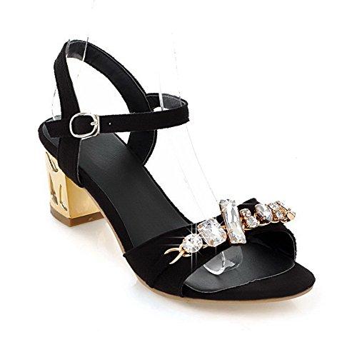 AmoonyFashion Womens Open Toe Kitten Heel Chunky Heels PU Frosted Solid Sandals with Glass Diamond Black GNHRWshZ4t