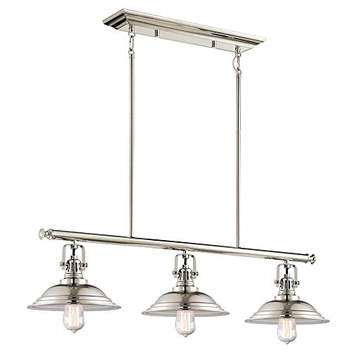 """Used, Langdon Mills Bowery 3-Light 36"""" Polished Nickel Industrial for sale  Delivered anywhere in USA"""