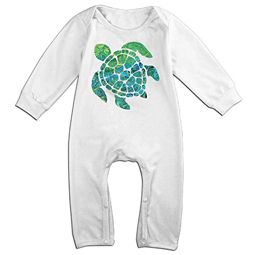 Baby Turtle Costume Pattern (Baby Infant Romper Green Sea Turtle Long Sleeve Jumpsuit Costume White 18 Months)